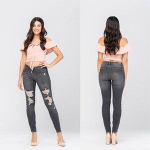 Women's Grey Mid Rise Destroyed Skinny Pent